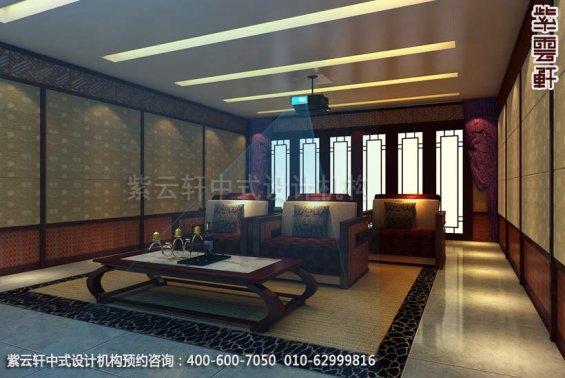别墅影音室中式装修效果图_大连古典别墅中式设计案例