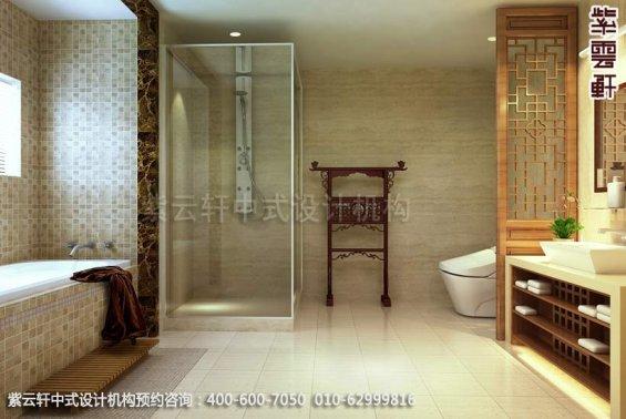 别墅卫生间中式装修效果图_大连古典别墅中式设计案例
