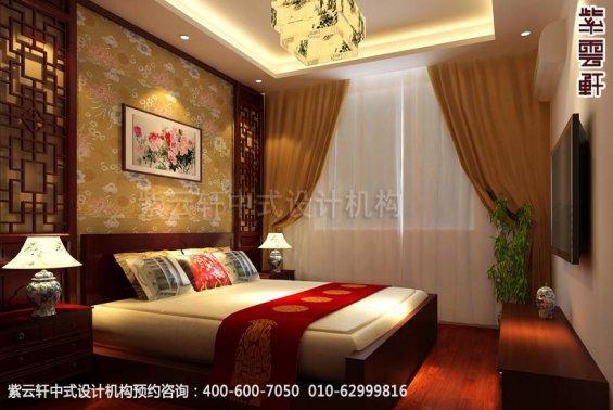 别墅主卧中式装修效果图_温州简约别墅中式设计案例