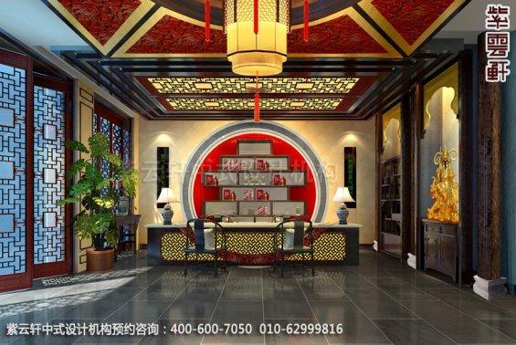 酒店大厅中式装修效果图_枣庄现代酒店中式设计案例
