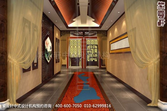 酒店过道中式装修效果图_枣庄现代酒店中式设计案例