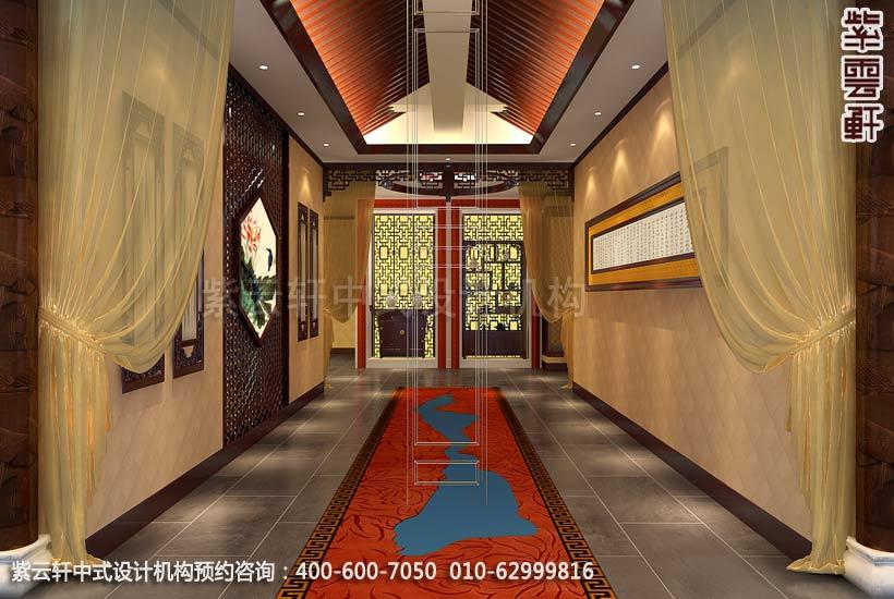 酒店过道中式装修效果图 枣庄现代酒店中式设计案例高清图片