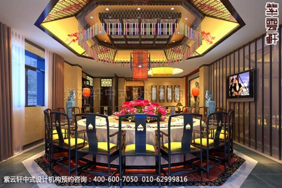 酒店二层包厢中式装修效果图_枣庄现代酒店中式设计案例