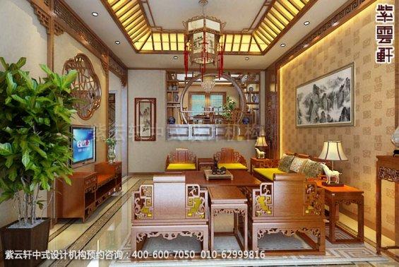别墅客厅中式装修效果图_温州简约别墅中式设计案例