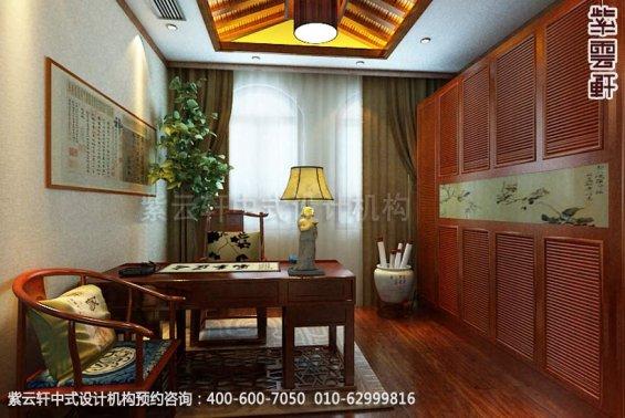 别墅书房中式装修效果图_温州简约别墅中式设计案例