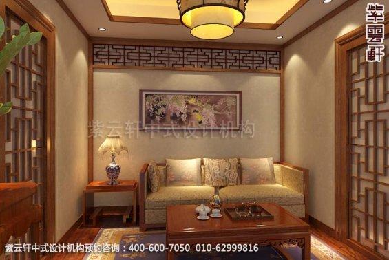 别墅休闲室中式装修效果图_温州简约别墅中式设计案例