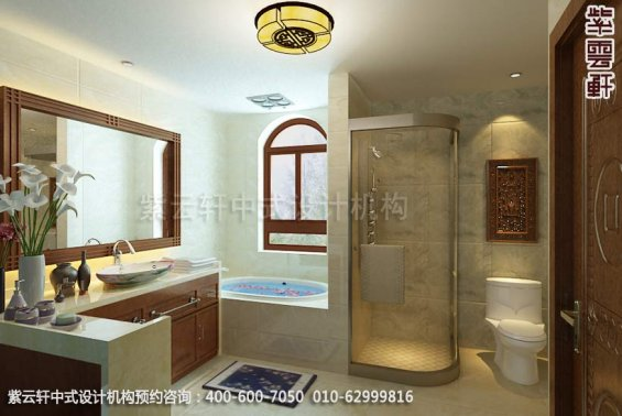 别墅卫生间中式装修效果图_温州简约别墅中式设计案例