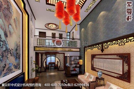 别墅客厅中式装修效果图_辛集现代别墅中式设计案例