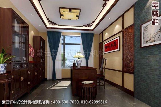 别墅书房中式装修效果图_辛集现代别墅中式设计案例