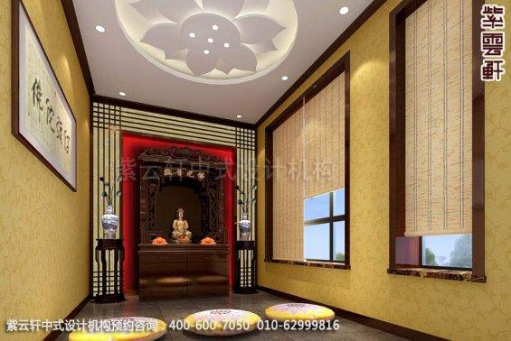 别墅佛堂中式装修效果图_辛集现代别墅中式设计案例
