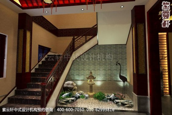 会所楼梯间中式装修效果图_盐城古典会所中式设计案例