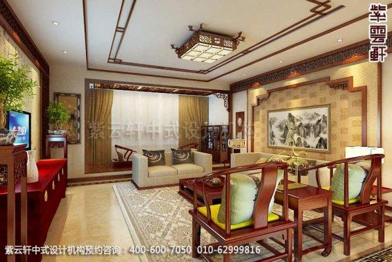 住宅客厅中式装修效果图_平层住宅简约中式设计案例
