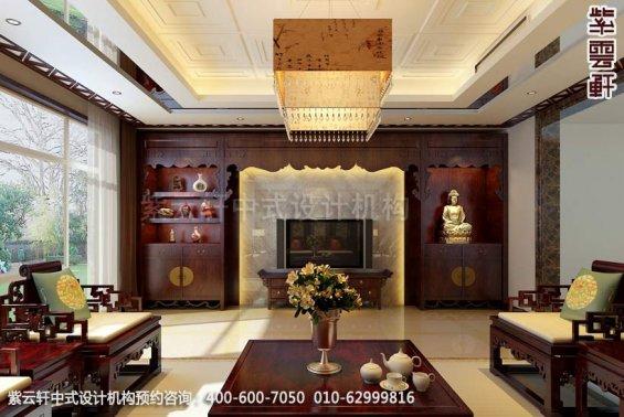 住宅客厅中式装修效果图_北京住宅现代中式设计案例