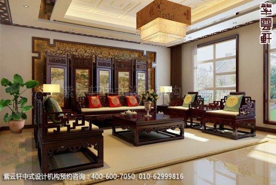 住宅客厅2中式装修效果图_北京住宅现代中式设计案例