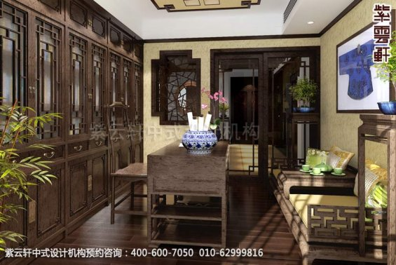 住宅书房中式装修效果图_襄阳平层住宅现代中式设计案例