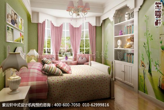 住宅女儿房中式装修效果图_襄阳平层住宅现代中式设计案例