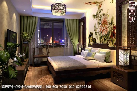 住宅主卧中式装修效果图_襄阳平层住宅现代中式设计案例