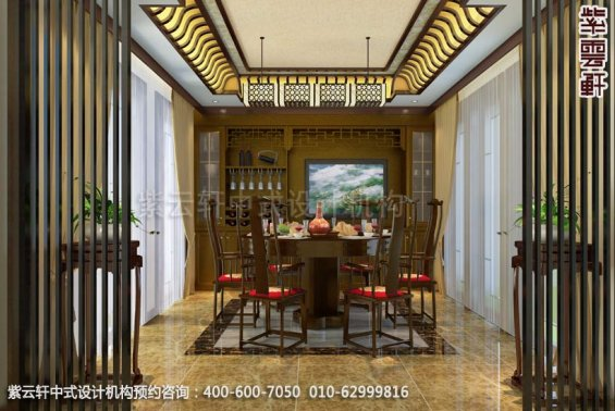 别墅餐厅中式装修效果图_金华别墅简约中式设计案例
