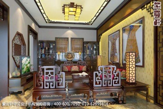别墅客厅1中式装修效果图_金华别墅简约中式设计案例