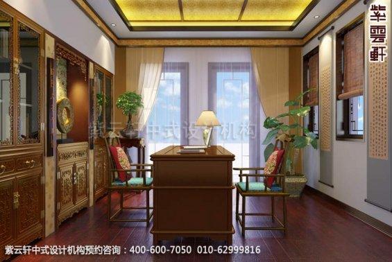 别墅书房中式装修效果图_金华别墅简约中式设计案例