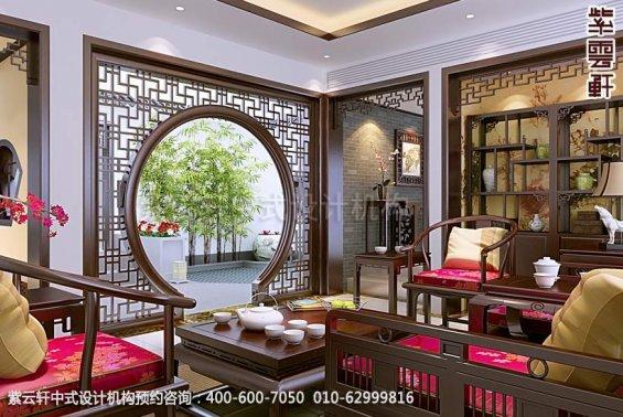 住宅客厅中式装修效果图_简约平层住宅中式设计案例