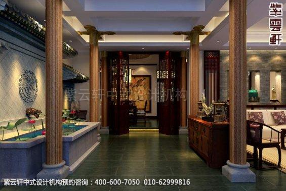 会所过厅中式装修效果图_洛阳简约会所中式设计案例