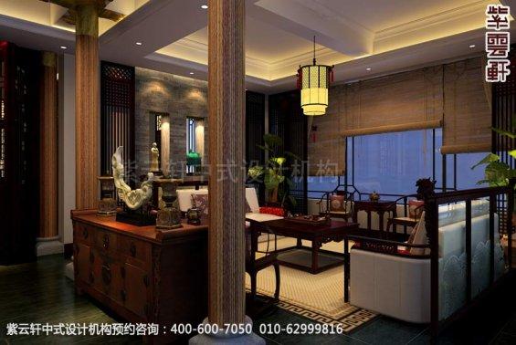 会所会客厅中式装修效果图_洛阳简约会所中式设计案例