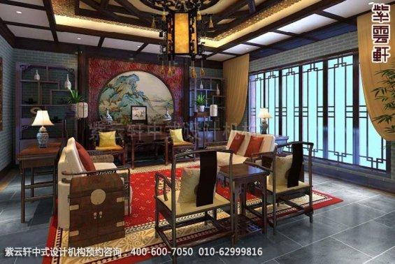 别墅客厅中式装修效果图_简约别墅中式设计案例