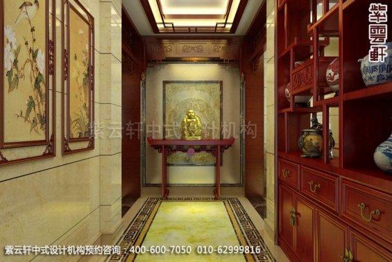 别墅玄关中式装修效果图_现代别墅中式设计案例