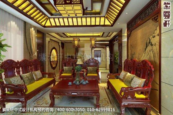 别墅客厅中式装修效果图_别墅现代中式设计案例
