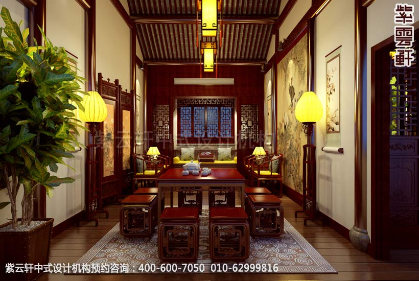 茶楼二层包间中式装修效果图 古典茶楼中式设计案例高清图片