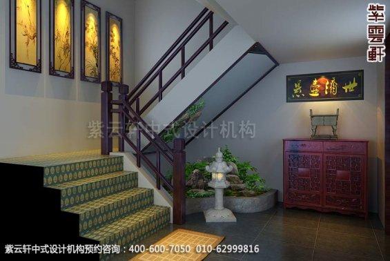 会所楼梯间中式装修效果图_简约会所中式设计案例