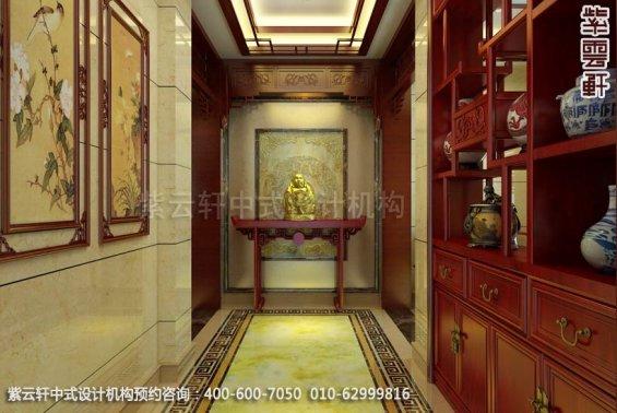 别墅玄关中式装修效果图_淮安现代别墅中式设计案例