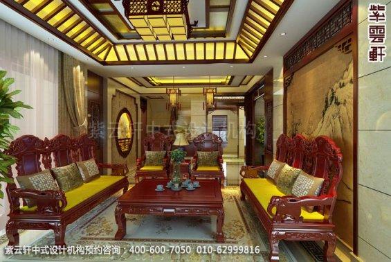 别墅客厅中式装修效果图_淮安现代别墅中式设计案例