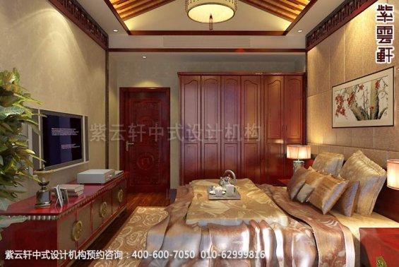 别墅次卧中式装修效果图_淮安现代别墅中式设计案例