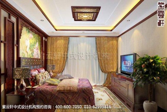 别墅老人房中式装修效果图_淮安现代别墅中式设计案例