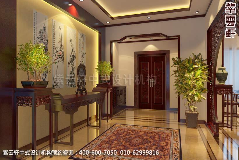 别墅门厅中式装修效果图_上海现代别墅中式设计案例