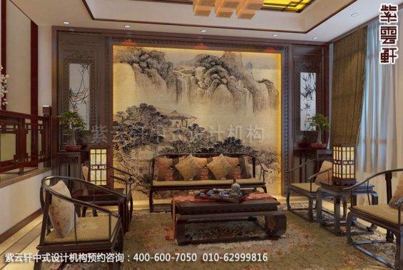 别墅客厅中式装修效果图_上海现代别墅中式设计案例