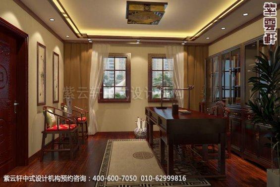 别墅书房中式装修效果图_上海现代别墅中式设计案例