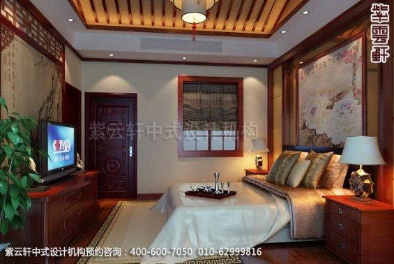 别墅卧室中式装修效果图_上海现代别墅中式设计案例
