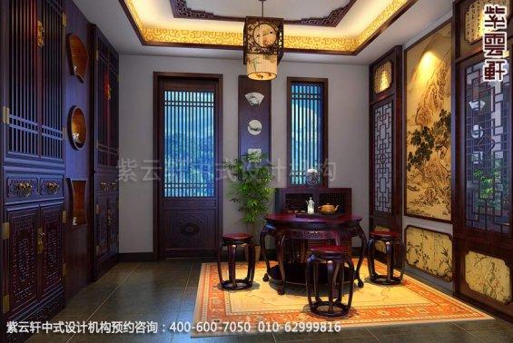 住宅门厅中式装修效果图_简约复式住宅中式设计案例