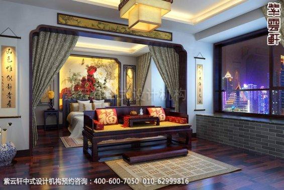 住宅主卧中式装修效果图_简约复式住宅中式设计案例