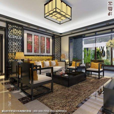 别墅客厅中式装修效果图_常州新中式别墅设计案例