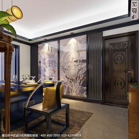 别墅餐厅中式装修效果图_常州新中式别墅设计案例