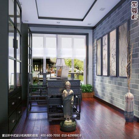 别墅书房中式装修效果图_常州新中式别墅设计案例