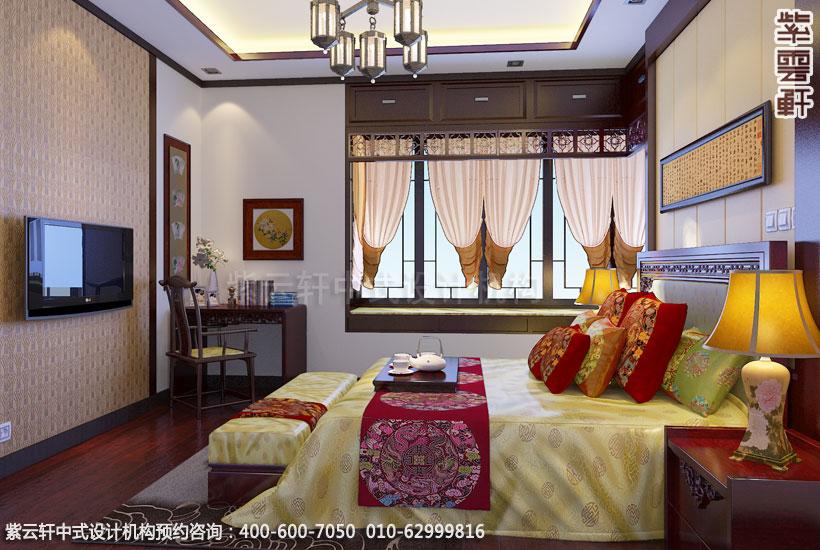 别墅主卧中式装修效果图_常州新中式别墅设计案例