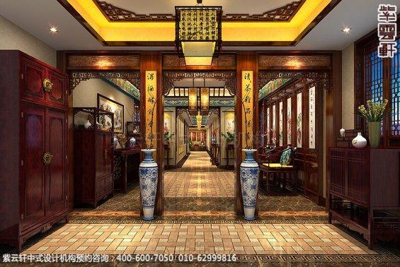 长沙豪宅别墅古典中式装修,门厅装修设计效果图