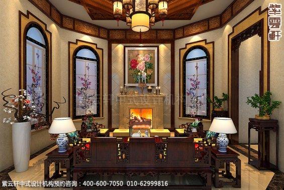 长沙豪宅别墅古典中式装修,客厅装修设计效果图