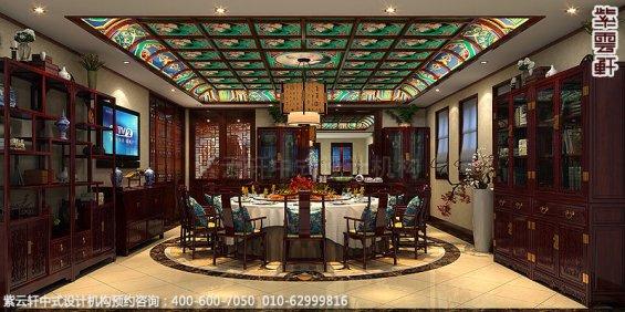 长沙豪宅别墅古典中式装修,餐厅装修设计效果图