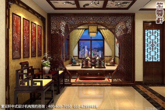长沙豪宅别墅古典中式装修,茶舍走廊装修设计效果图